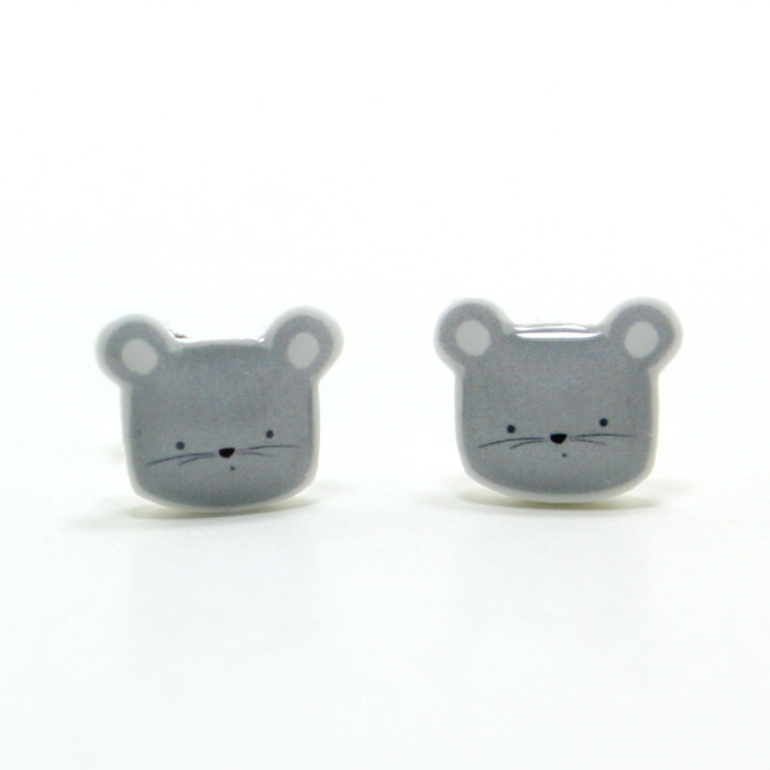 Tiny Grey Mouse Earrings - Gray Sterling Silver Posts Studs Kawaii Cute